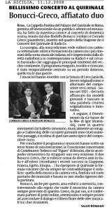 LA SICILIA 11.12.08 (recensione Quirinale)