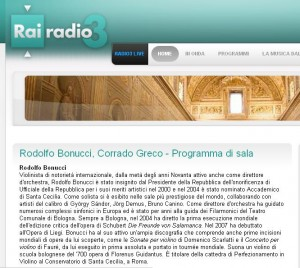 Radio3 - Greco e Bonucci, programma