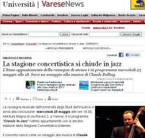 Varese News - Chiusura stagione concertistica Insubria